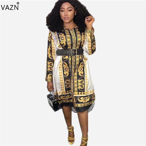 VAZN 2019 Nouvel été, coupe et évasement imprimés Robe sexy pour femmes jusqu'au genou Robe féminine style streetwear blanche imprimer la moitié KM1233