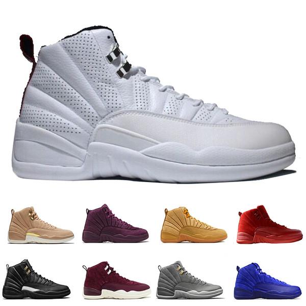 12 zapatos de baloncesto del mens Burdeos Gris oscuro Juego de la gripe El maestro de taxi Playoffs franceses Azul Gamma zapatilla barones rojos de gimnasio de ante la salida del sol Deportes