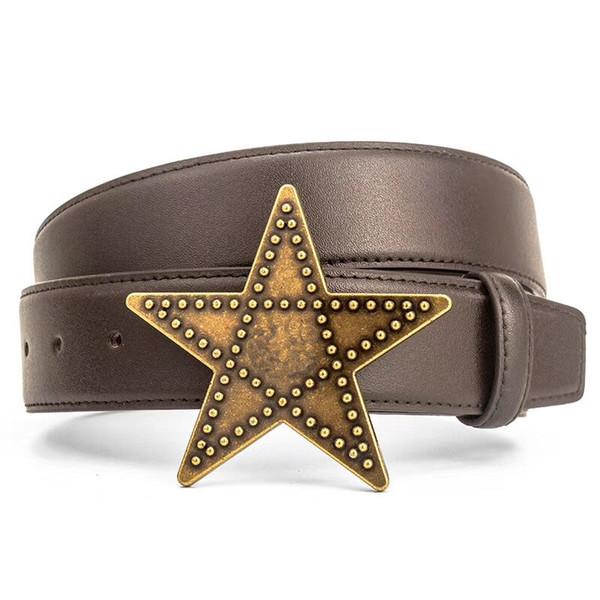 Italy Designer Casual Belt Unisex Fashion Belts Big Stars Buckle Genuine Leather Waist Straps Men Women Black Brown Luxury Belts with Box
