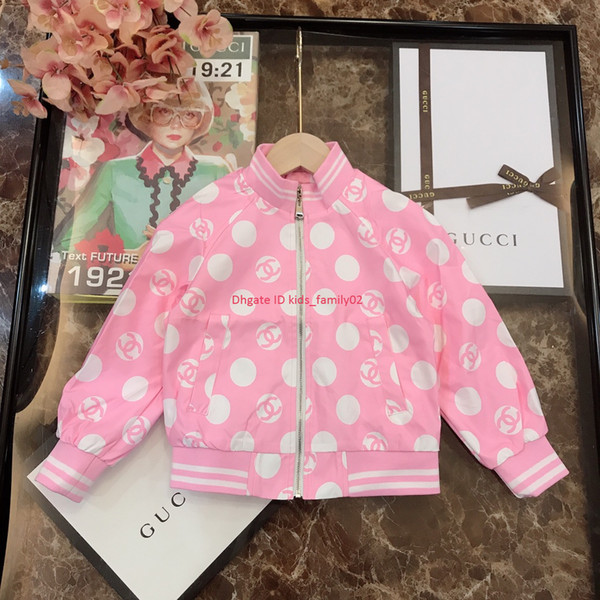 Girls jacket kids designer clothing autumn new woven fabric coat lining cotton polka dot pattern design coat