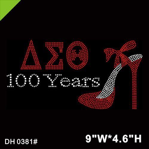 Free shipping Red Delta Sigma Theta 100 Years High Heel Shoes Crystal Rhinestone Iron On Transfer Design DIY DH0381#