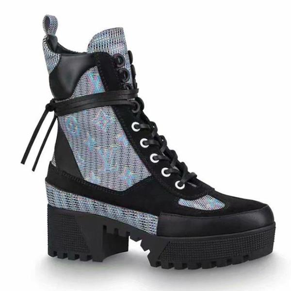 LouisVuittonLV Femmes Chaussures en cuir à haut Top Mode hiver chaud neige moto Bottines Laureate plate-forme Desert Boot Chaussur