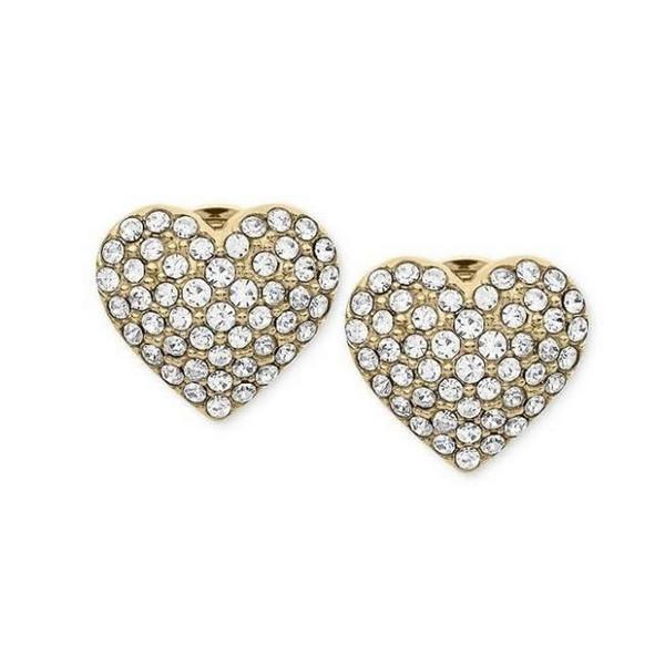 Women's Stud Earrings Gold Heart Shaped Crystal Earrings Diamond Jewelry Zircon Round Wedding Dress E96
