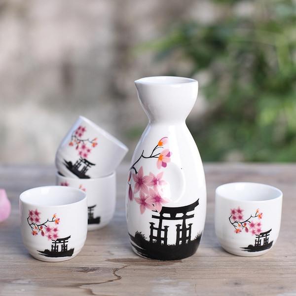 Porcelaine japonaise Vintage Pot en céramique Flagon Liqueur Spiritueux Tasses Set Cuisine Salle à manger Bar Vaisselle Japonais Vin Sake Set