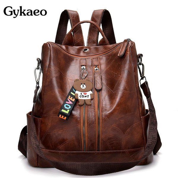 Gykaeo 2019 Summer Retro Women's Backpack Ladies Soft Leather Casual Large Capacity School Bags for Teenage Girls Backpacks Bags