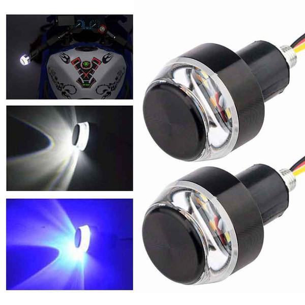 top popular Motorcycle Handlebar End Turn Signal Lighting Universal Indicator Flasher Handle Bar Motorbike Accessories Blue Yellow Red Lamp 2021