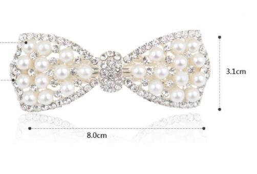 New hair accessories bows pearl rhinestone spring clip hairpin women head jewelry wholesale mixed batch