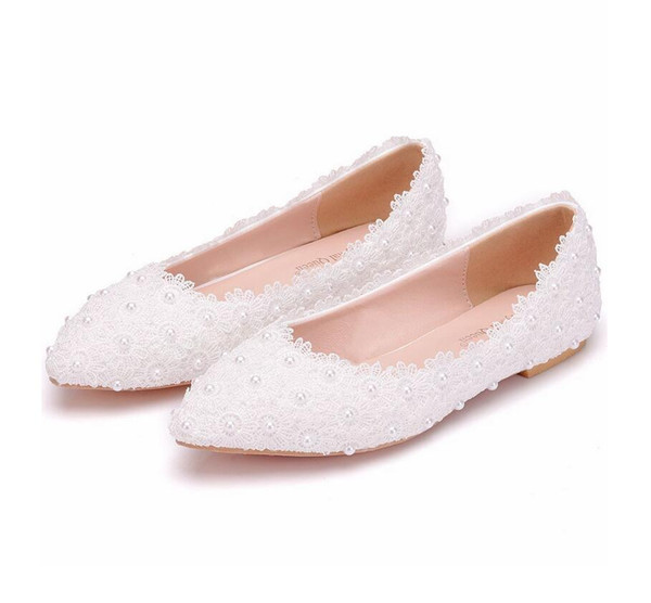 Large size women white lace flat shoes wedding bridal shoes show pink lace pearls shoe pregnant female flatforms casual shoes for brides