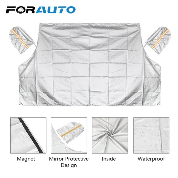 FORAUTO Windscreen Car Cover Half Size Car Covers Windshield Sunshades Magnetic Frost Snow Ice Shield Shade Protector Mat