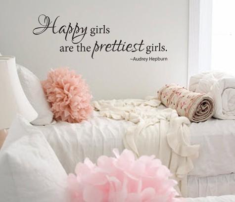 Gros- « Les filles heureux sont les filles » Plus beaux Citation de mur de vinyle autocollant Decal
