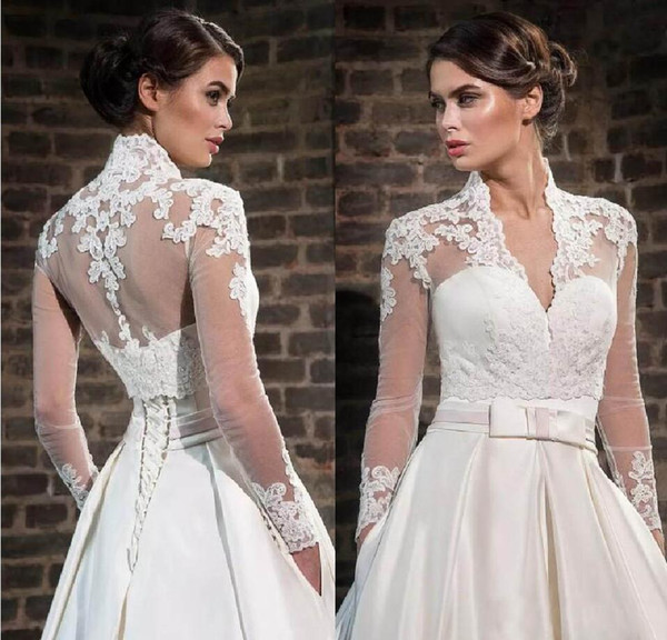 White Ivory Lace Appliques High Neck Wedding Wraps With Long Sleeves Sheer Bridal Bolero Jackets Tulle Bridal Accessories Custom Made