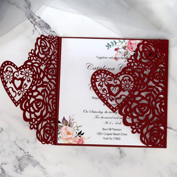 Pierced Rose Embossing Laser Invitation Letter Pearl Paper Invitation Cards Wedding Business Universal Send A Greeting Card Send Card From Hobarte