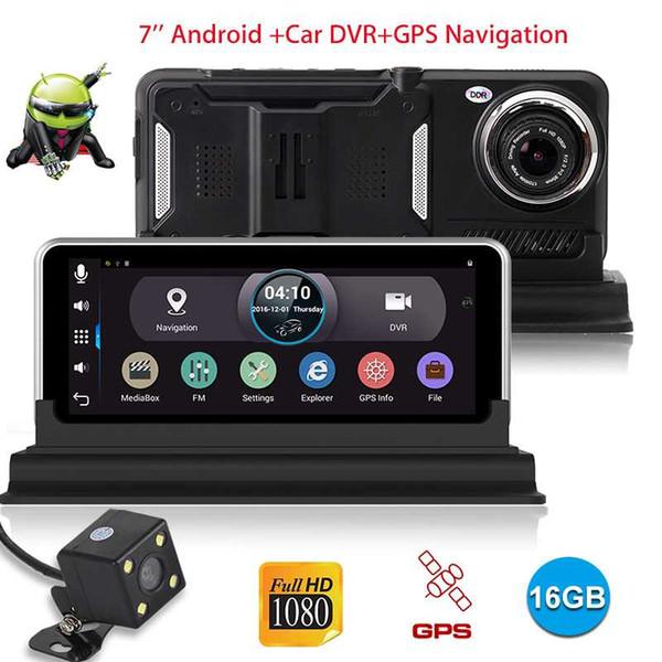 XGODY 7 polegada Câmera Do Carro Android Com Navegador GPS 512 MB + 16 GB Espelho Retrovisor DVR Camera Recorder wi-fi Dashcam Full HD 1080 P dvr carro