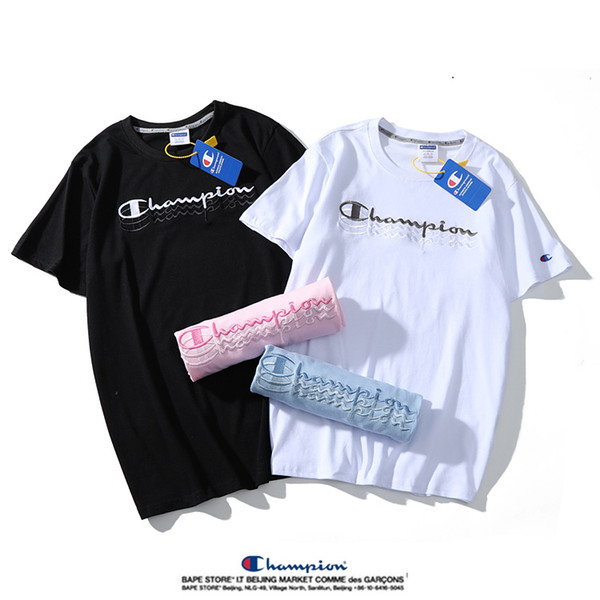 Şampiyonlar Erkekler T Gömlek Marka Kadın Tshirt Tasarımcı Unisex Tee Mektup Işlemeli Kısa Kollu Eğlence Rahat Üst Beyaz Siyah Pembe mavi