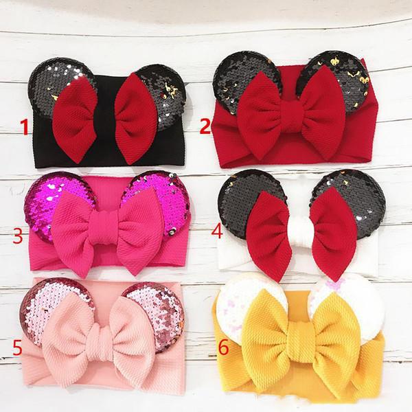 Las orejas de ratón arco del bebé de las lentejuelas cinta elástica sirena turbante de dibujos animados anchas Headwrap Hairbands de Halloween los niños accesorios para el cabello
