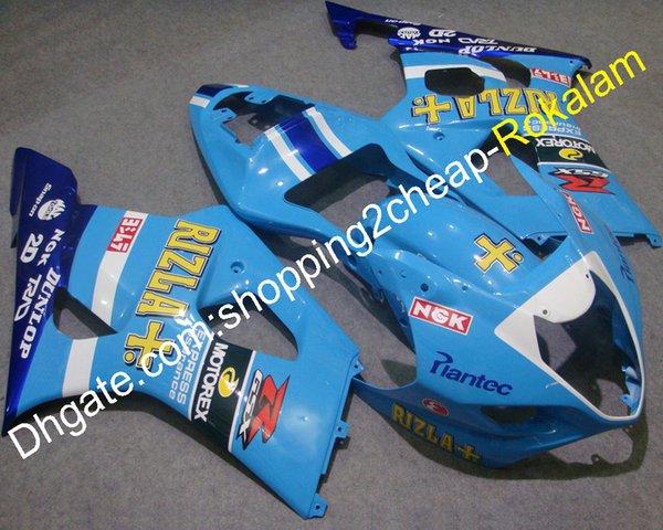 GSXR 1000 k3 03 04 Kit de carenado del cuerpo para Suzuki GSX-R1000 2003 2004 GSXR1000 Kits de carenados de motocicleta azul (moldeo por inyección)