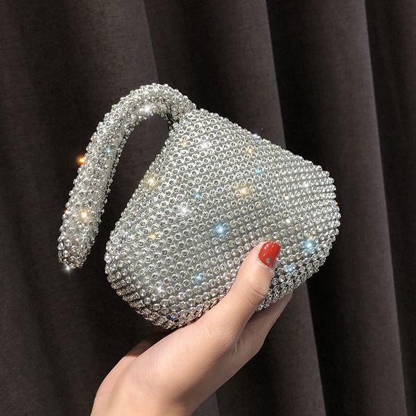 BARHEE Marca Triângulo Diamante Embreagem Bolsa de Alta Qualidade Feminino Saco de Mão Senhoras Elegantes Mini Saco de Festa Pulseira de Prata