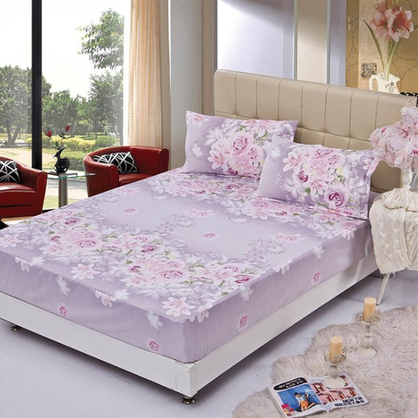 100%Polyester Printed Solid Fitted Sheet Mattress Cover Four Corners With Elastic Band Bed Sheet