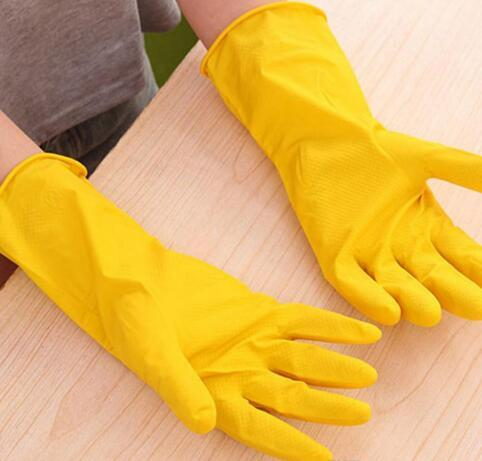 Hot Sale Thin Cleaning Durable Waterproof Glove Yellow Rubber Housework Mittens Non Slip Grain Design Long Dish Washing Gloves