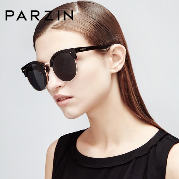 PARZIN Klassische Runde Sonnenbrille Für Frauen Männer Qualität TR90 Halbrandloser Rahmen Polarisiertes Fahren Anti-Glare Sonnenbrille