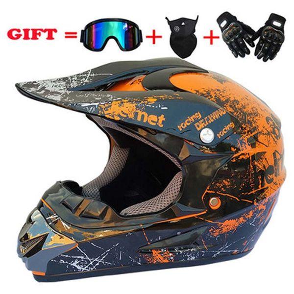 top popular NEW Off Road Motocross Helmet Motorcycle Helmet Casco Capacetes Half Helmet Open Face Offroad ATV Cross Racing Bike Casque with Goggles Mask 2021
