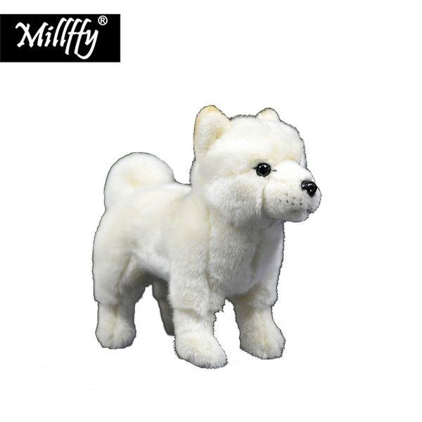 Venta al por mayor Realista de Plushie Crema Shiba Animal de Peluche Realista Japonés Blanco Shiba Inu Felpa Cachorro Perro de Juguete Suave para niños