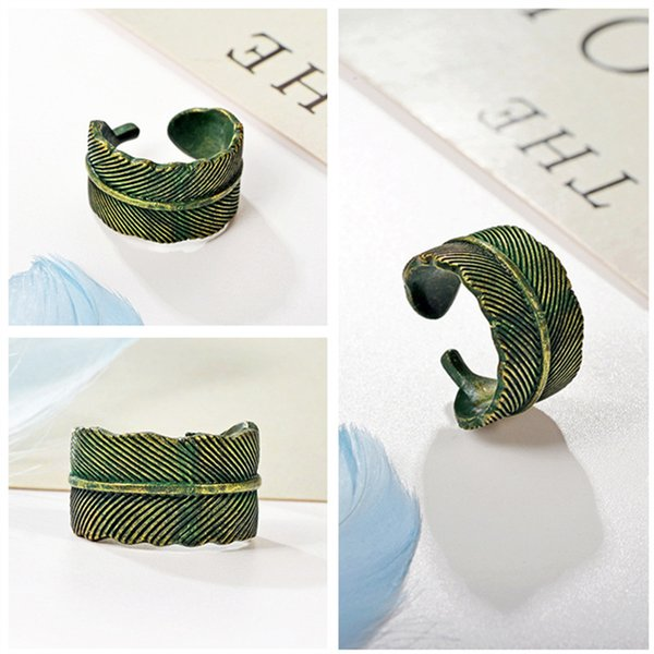10pcs Personality Vintage Leaf Shaped Opening Ring Alloy Plating Antique Green Finger Ring Adjustable Female Fashion Jewelry