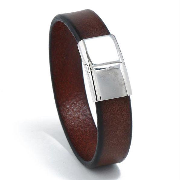 Punk new retro stainless steel cowhide bracelet cross-border explosions simple men's jewelry leather bracelet bracelet