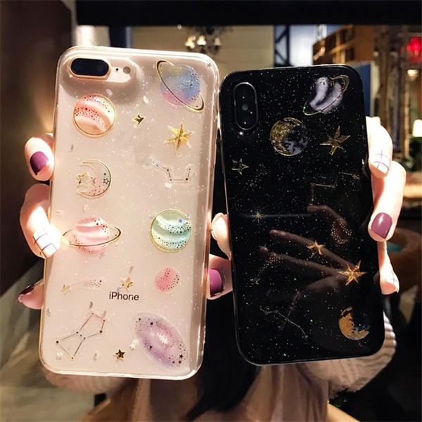 Alta calidad Brillo estrellado a prueba de choques de silicona contraportada TPU caja del teléfono celular cubiertas protectoras para iPhone X XR XS MAX 6 6S 7 8 PLUS