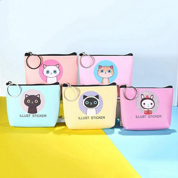 5 estilos Coreano animais dos desenhos animados coelho gato moda moeda bolsa chaveiro criativo mini bonito zíper PU sacos