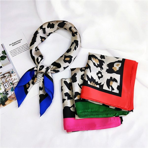 Fashion Leopard Pattern Silk Scarves Woman Trendy Small Square Scarf Headkerchief Neck Accessories Halloween Party Gifts TTA1889