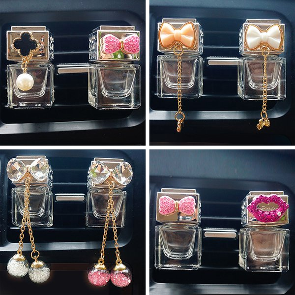 Air Freshener Car Diamound Perfume Clip Fragrance Empty Glass Bottle For Essential Oils Diffuser Vent Outlet Ornament Car-styling