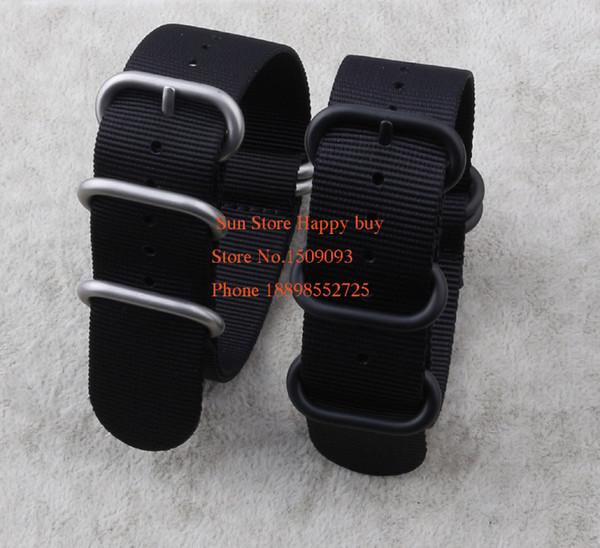 En gros! Nylon Diver Strap Band Watchband Ceintures Black 5-ring 18 20 22 24 26mm Bracelets de montre zoulou Nato