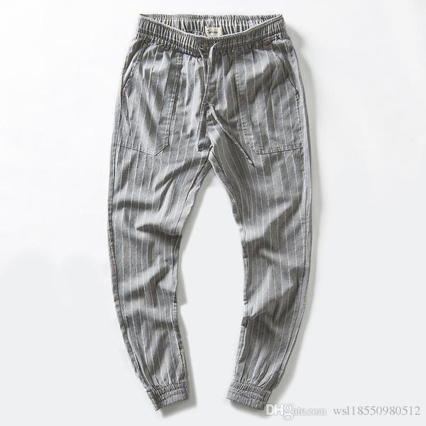 Beiläufige Mens lose gerade gestreifte Leinenhose Multi Taschen bequeme Streetwear Hose Slim Fit elastische Taille Jogger