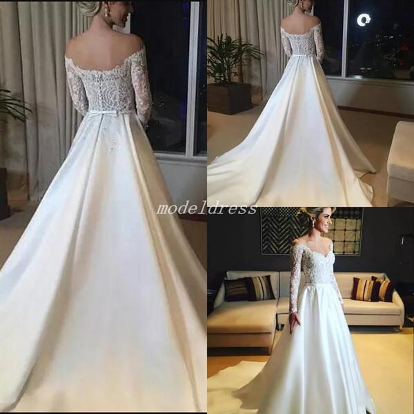 2019 Glamorous Wedding Dresses Off Shoulder Long Sleeve Backless Lace Sash Sweep Train Chapel Garden Country Bridal Gowns robe de mariée