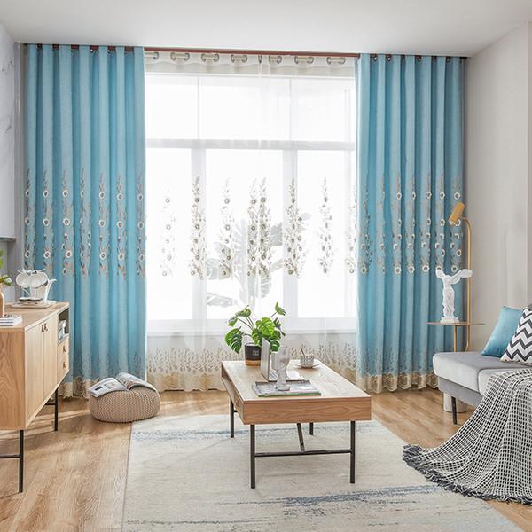 Compre Cortinas Modernas Simples De La Cortina Del Bordado Para La Sala De  Estar Comedor Dormitorio. A $32.37 Del Shuishu   DHgate.Com