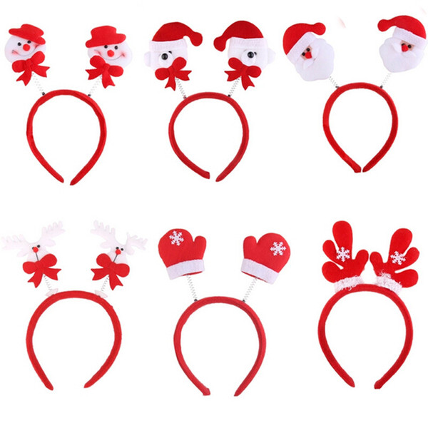 1pc Lovely Snowman Santa Claus Bear Elk Pattern Head Fancy Bands Hair Hoop Christmas Decoration Supplies For XMAS Party