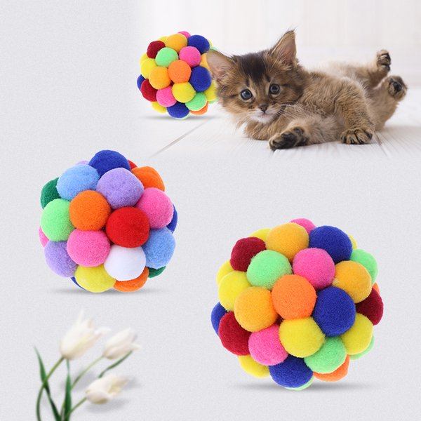 best selling Pet Cat Toy Colorful Lovely Handmade Bells Bouncy Ball Built-in Catnip Interactive Toy Great For Fun And Entertainment
