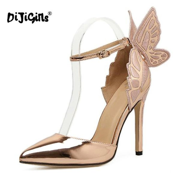 Dress Dijigirls Fashion Butterfly Wing Top Sold Buckle Strap Women Pumps Sexy Pointed Toe High Heel Women Party Shoes Size 35-40