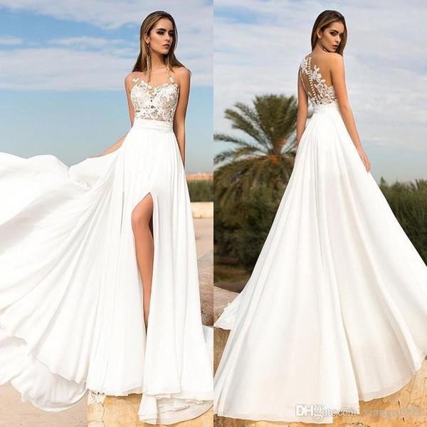 Vestidos de novia divididos en la parte alta de la playa de verano Encaje Cuello escarpado Una línea de tren de barrido Vestidos de novia de gasa Vestido de novia blanco por encargo
