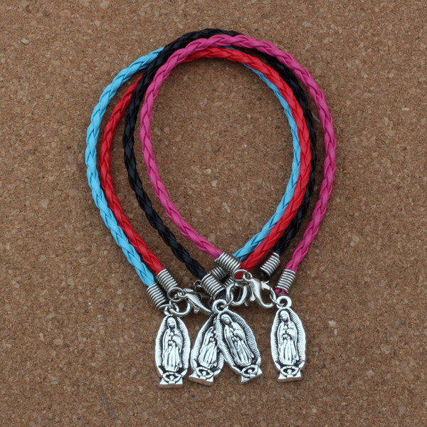 50pcs/lots leather bracelet Antique silver Religious Virgin Mary alloy Charms Pendants Bracelet 4 color B-388