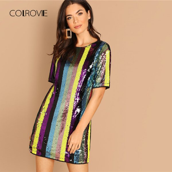 Colrovie Multicolor Tunic Striped Sexy Sequin Dress Women Clothing 2019 Spring Short Sleeve Fashion Korean Club Mini Party Dress Y19053001