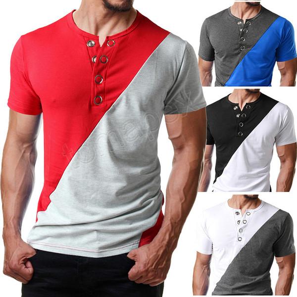 Nouveau Bouton En Métal Henley Manches Courtes T Shrit Hommes 2019 D'été Nouveau Slim Fit Hommes Casual T-shirts Respirant Doux Tee Shirt Homme