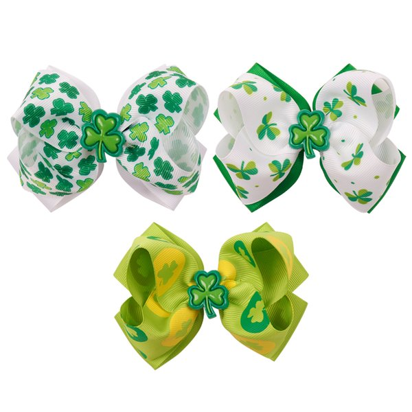 4 Inch Hair Bow Green Hair Clips Printed Shamrock Hair Accessories For Girls St patrick's day Headwear Boutique Clover Knot Bows