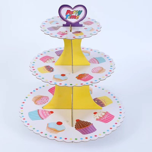 3-tier Cake Stand Cupcake Holder Girl Boys Cake Birthday Party Supplies Kids Baby Shower Party Favor Decoration Cupcake Stand