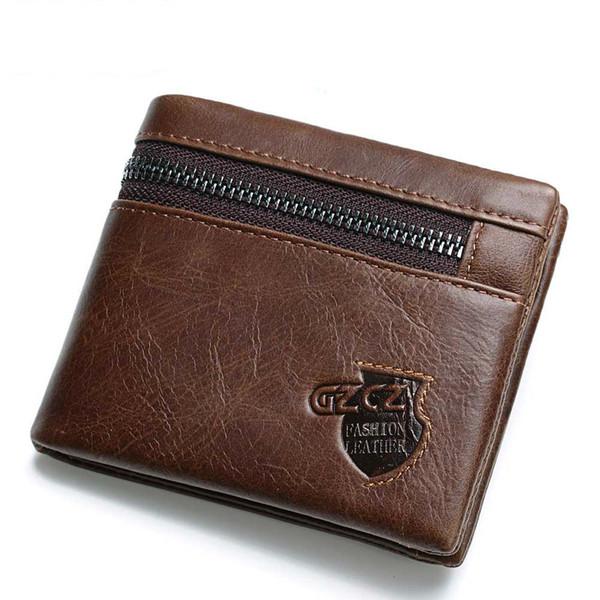 Portafoglio uomo da donna borsa marrone fondo corto vera pelle zero testa strato pelle bovina cerniera una borsa in pelle rossa portafogli borse europee per donna