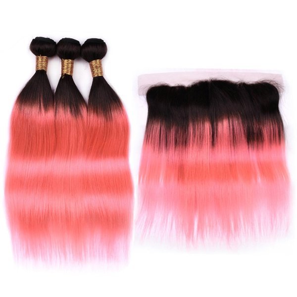 # 1B / Rose Gold Ombre Paquetes de cabello liso con Frontal Ombre Pink Indian Human Hair 3Bundles y 13x4 Lace Frontal Closure 4Pcs Lot