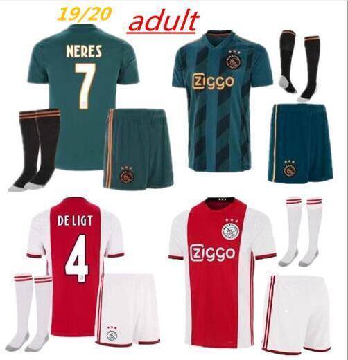 2019 2020 Ajax FC kits de camiseta de fútbol 19 20 ajaxa msterdam DE JONG TADIC ZIYECH NERES CAMISA futebol DE LIGT camiseta de fútbol kit uniforme