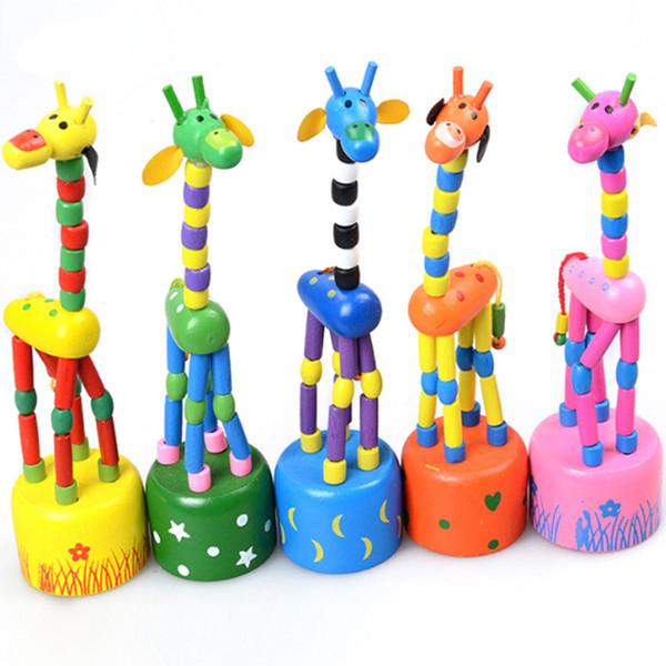 Bebê dos desenhos animados Balanço de madeira Rocha Giraffe do brinquedo que está Dança Mão boneca 18cm de altura Animal de Brinquedo Dedo crianças Brinquedos C1580