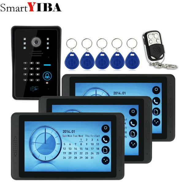 SmartYIBA 7inch Video Record/Photograph Video Door Phone Doorbell Waterproof HD RFID Camera Home Security Intercom System 1V3